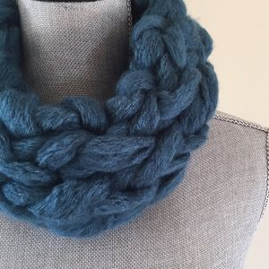 Deep teal handmade arm knit infinity scarf